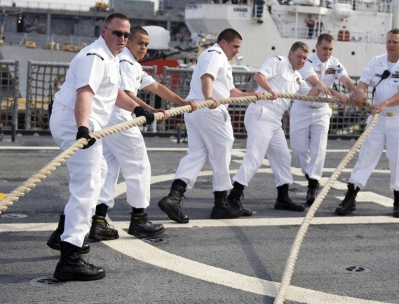 090506-N-7090S-221 NORFOLK, Va. (May 6, 2009) The Sailors attached to the littoral combat ship USS Freedom (LCS 1) handling lines to get the ship underway. (U.S. Navy photo by Mass Communication Specialist 2nd Class Jhi Scott/Released)