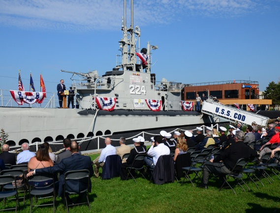 181008-N-VJ282-280  CLEVELAND (Oct. 8, 2018) Under Secretary of the Navy Thomas B. Modly announces the naming of the future littoral combat ship USS Cleveland on behalf of Secretary of the Navy Richard V. Spencer. The announcement was held at the USS Cod submarine in Cleveland's downtown area. The Secretary of the Navy is the sole entity with authority to approve the naming of new ships. (U.S. Navy photo by Chief Mass Communication Specialist Brian Dietrick/Released)